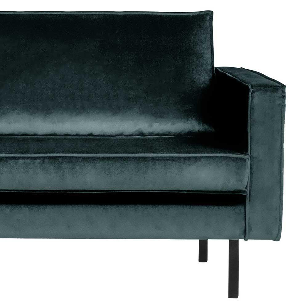 Sofa Recamiere in Petrol Samt Retro Design