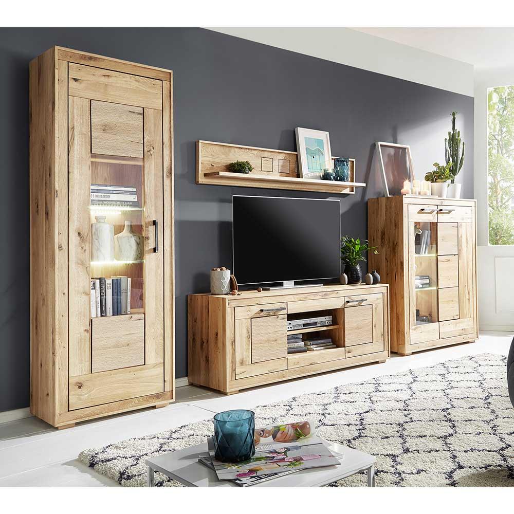 Design Wohnwand aus Wildeiche Massivholz hell sandgestrahlt und geölt  (16-teilig)