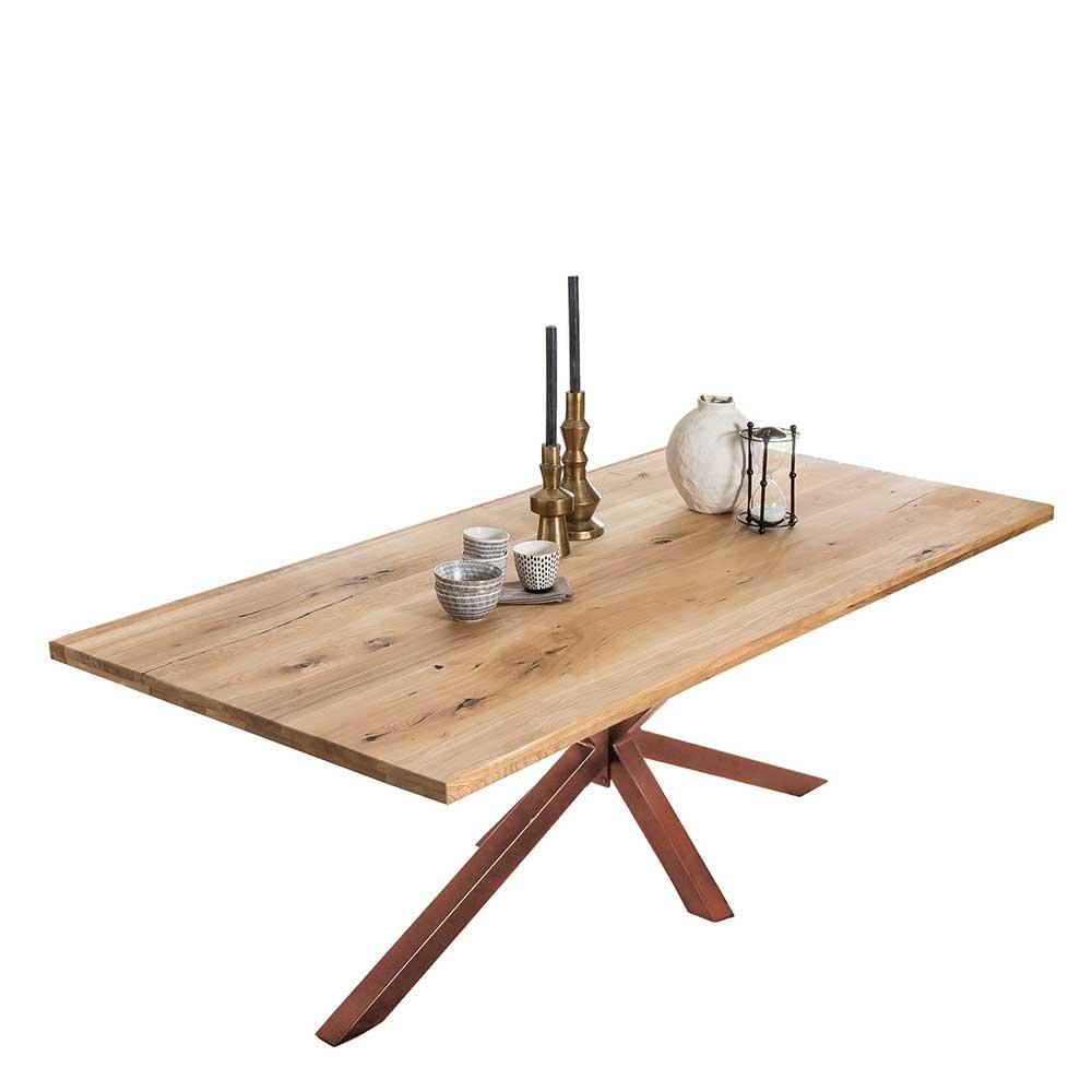 Baumkanten Esstisch aus Wildeiche Massivholz Eisen