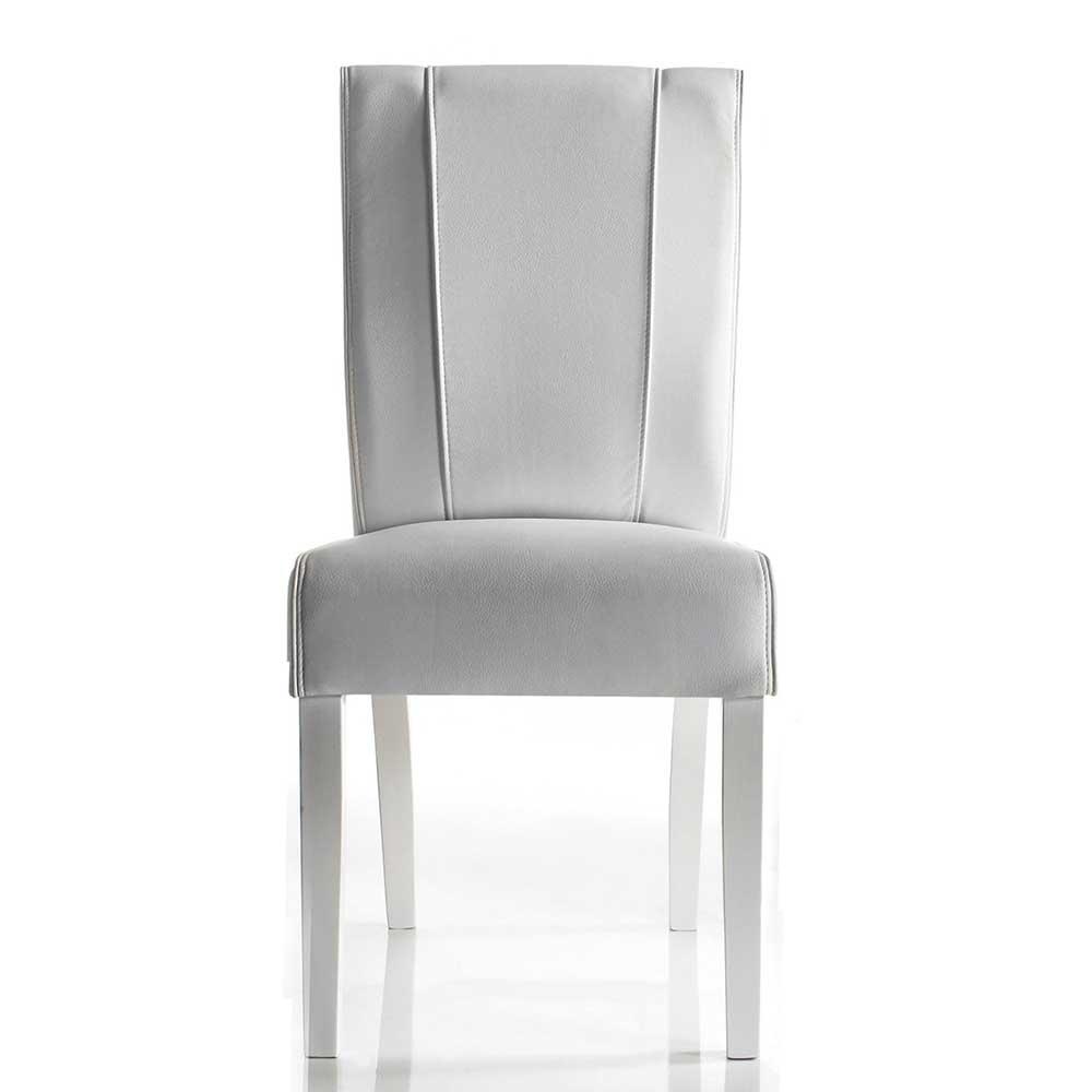 Esstisch Stühle in Weiß Kunstleder 45 cm Sitztiefe (2er Set)