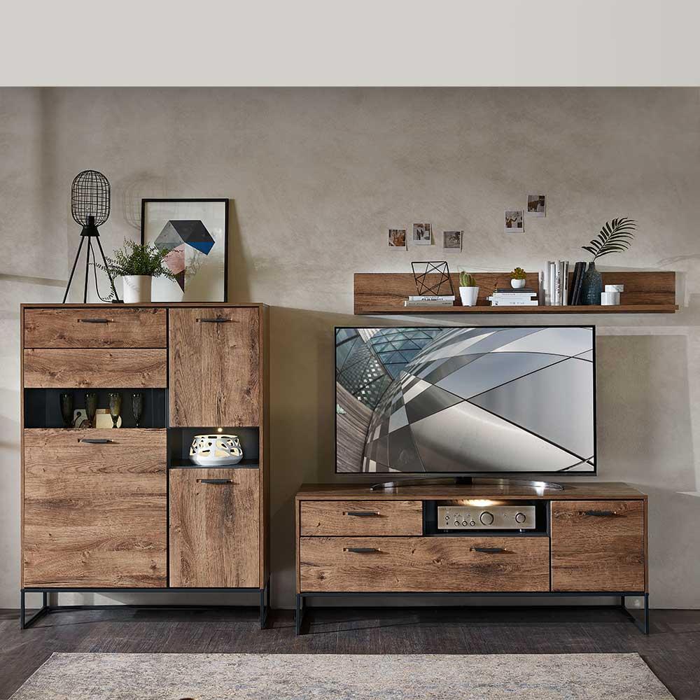 TV Wohnwand im Loft Design Eiche dunkel Optik und Dunkelgrau (dreiteilig)