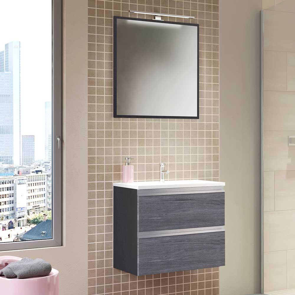 Badezimmerset in Eiche Grau LED Beleuchtung (zweiteilig)