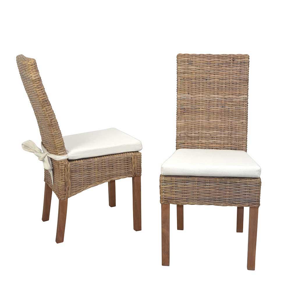 Esstisch Stühle in Graubraun Rattan und Pinie Massivholz (2er Set)