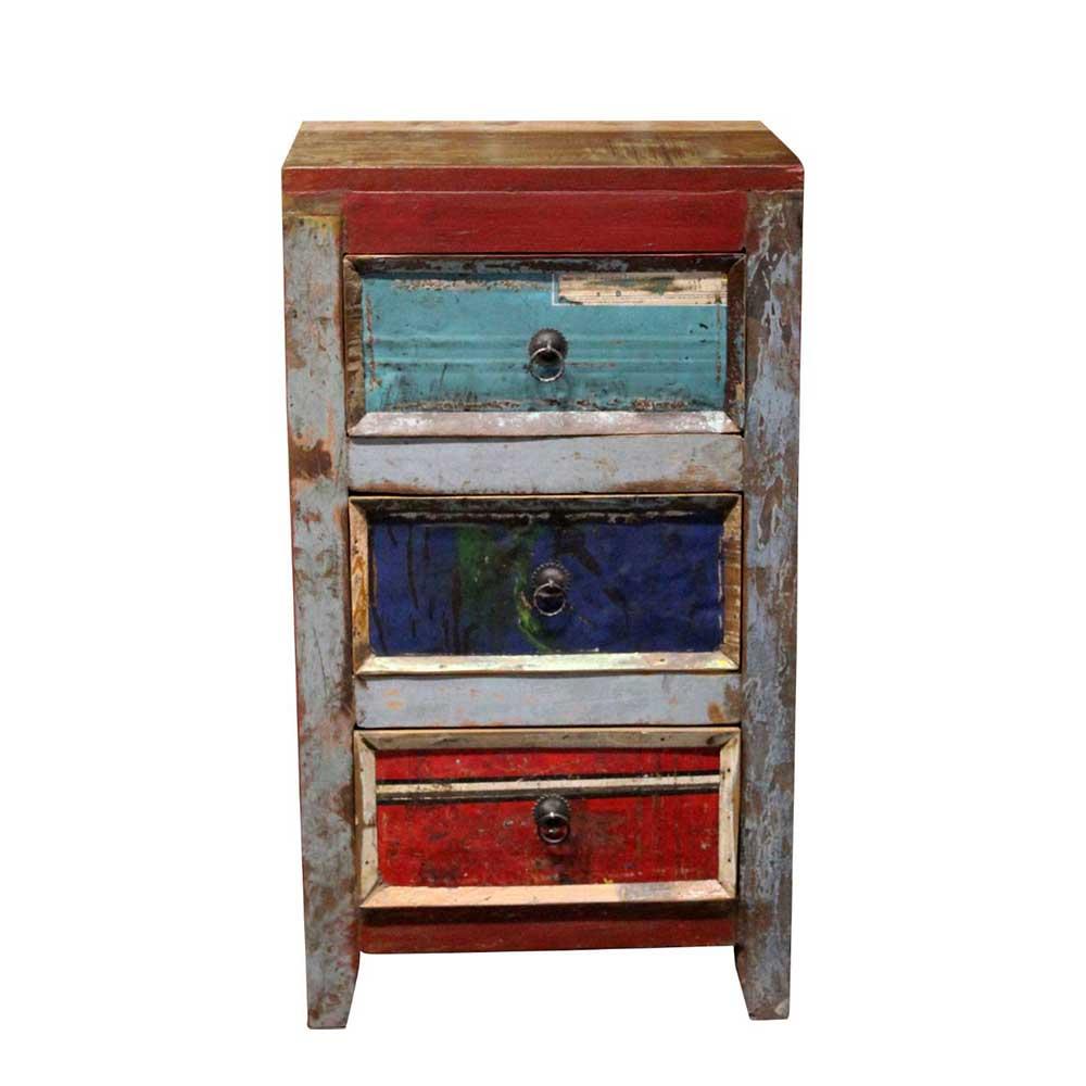 Schubkastenkommode im Shabby Chic Design buntem Recyclingholz