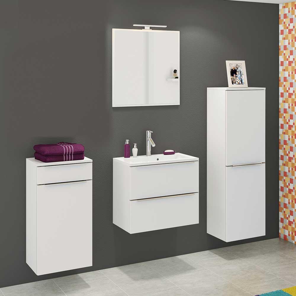 Badezimmerset in Weiß 140 cm breit (vierteilig)