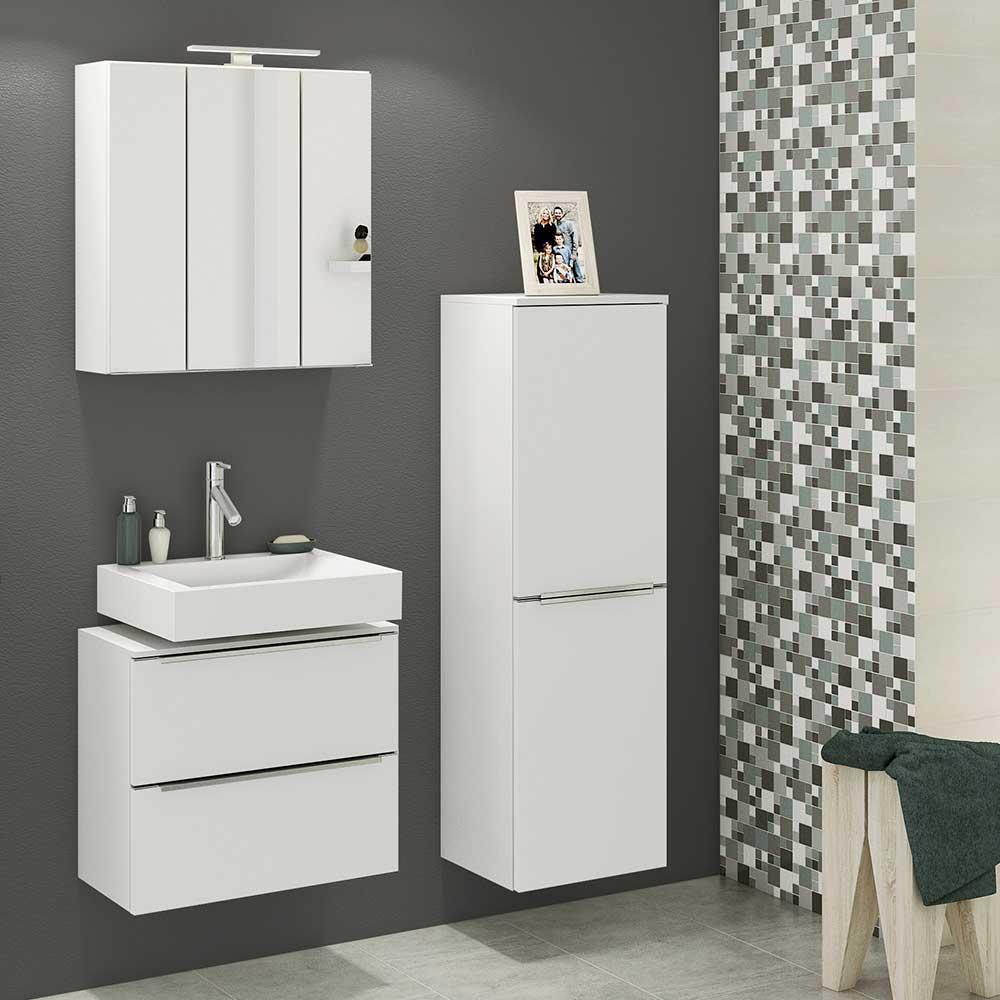 Design Badezimmerset in Weiß 100 cm breit (dreiteilig)