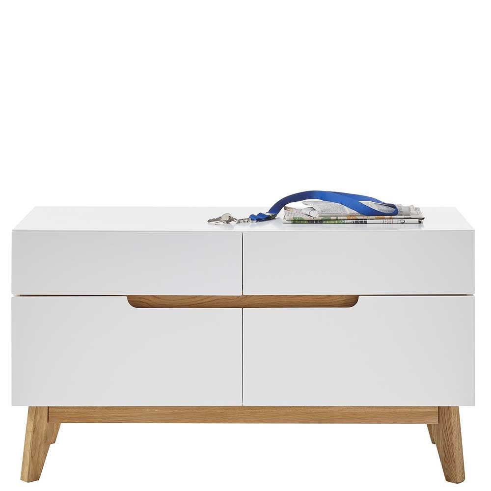 Mini Kommode in Weiß und Asteiche Skandi Design