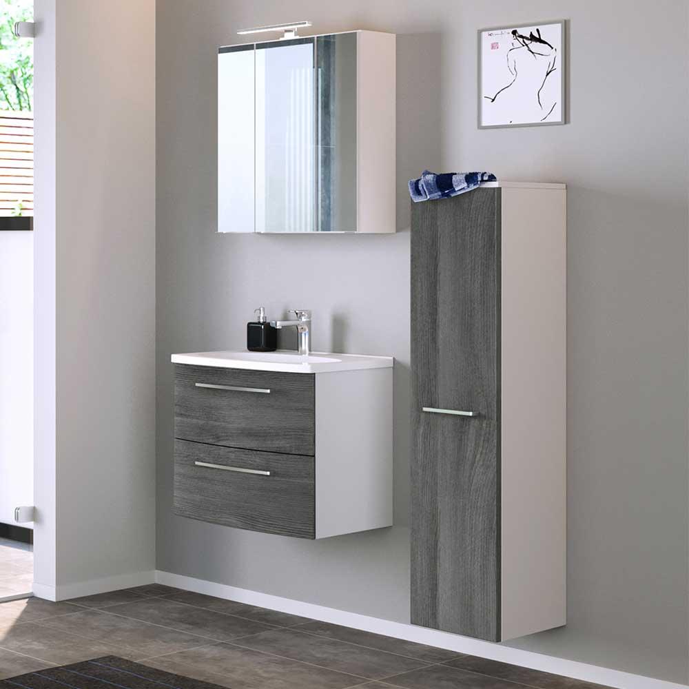 Badmöbel Set in Eiche Grau und Weiß modern (dreiteilig)