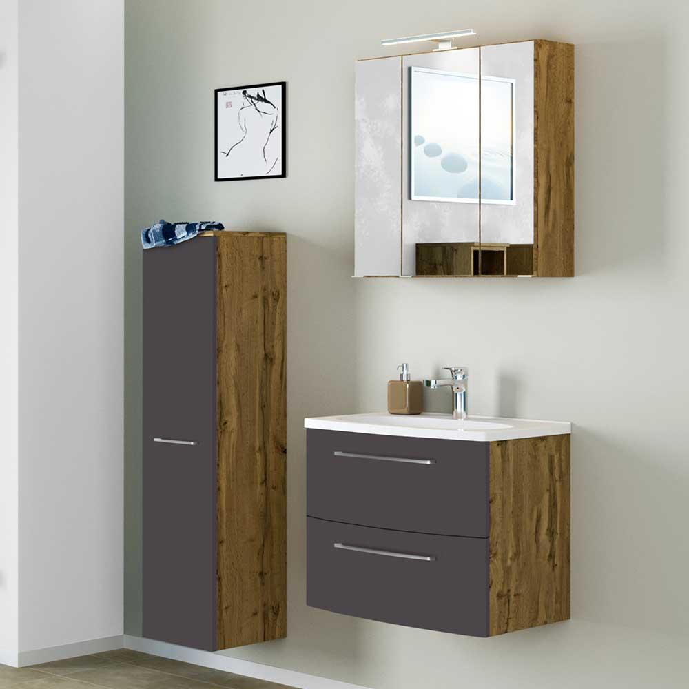 Design Badmöbel in Wildeichefarben und Dunkelgrau 90 cm breit (dreiteilig)