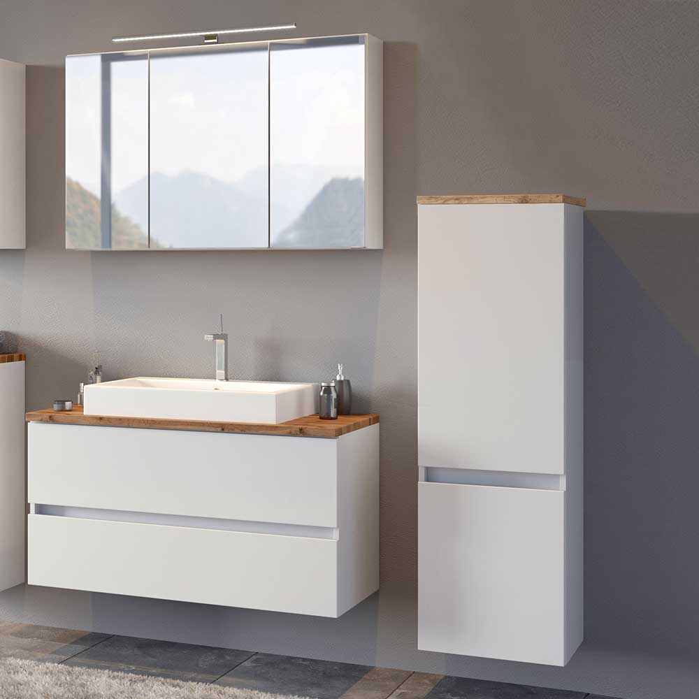 Badezimmerset in Weiß und Wildeiche Optik modern (dreiteilig)
