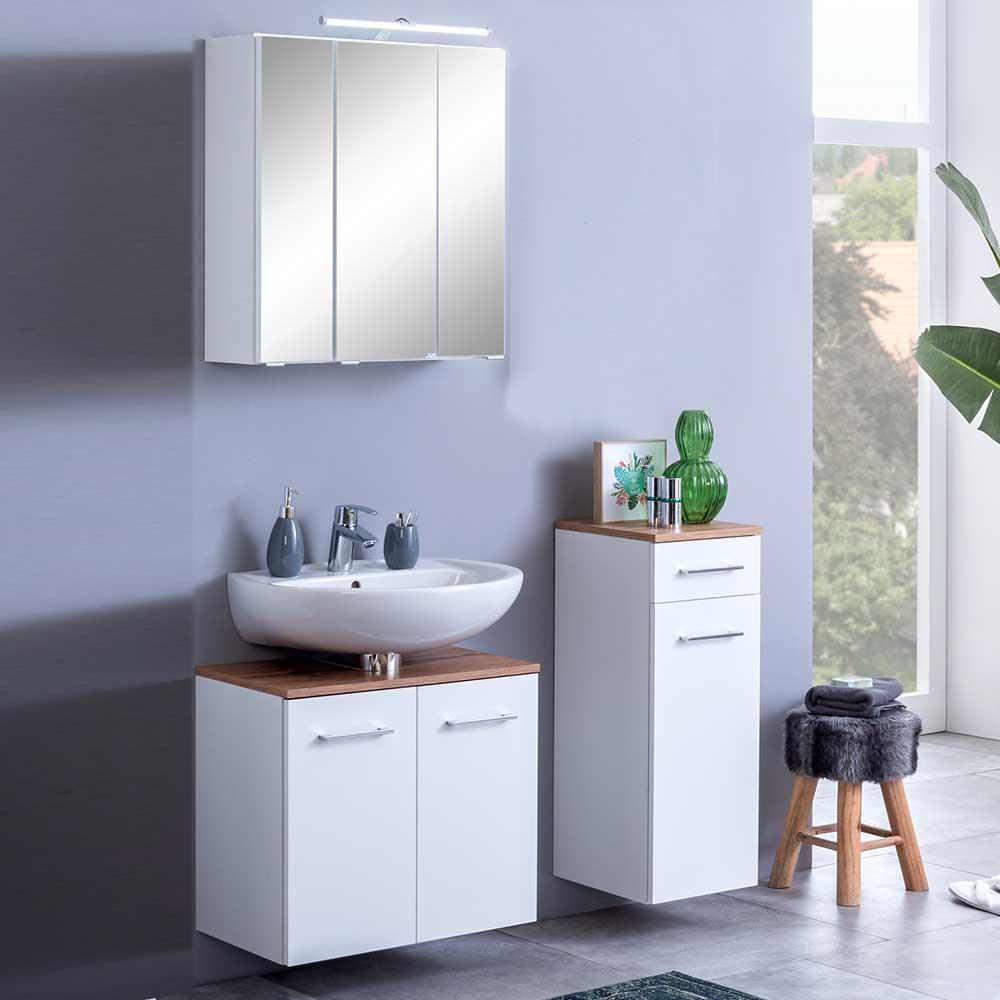 Design Badmöbel Made in Germany Weiß und Wildeiche Optik (dreiteilig)