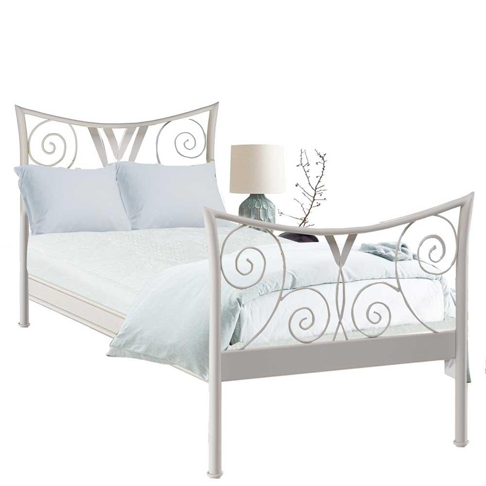 Weißes Bett aus Metall Vintage Design