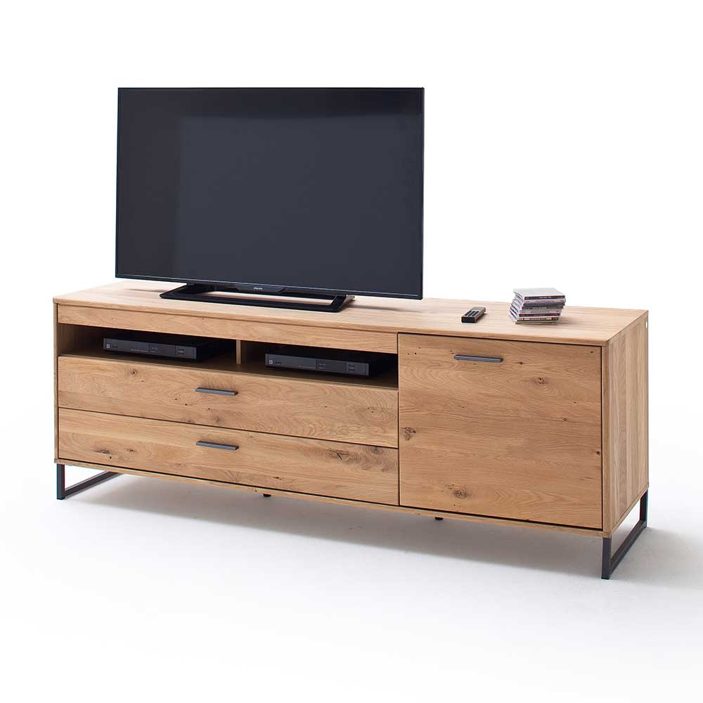 TV Lowboard in Eiche Bianco 50 cm tief