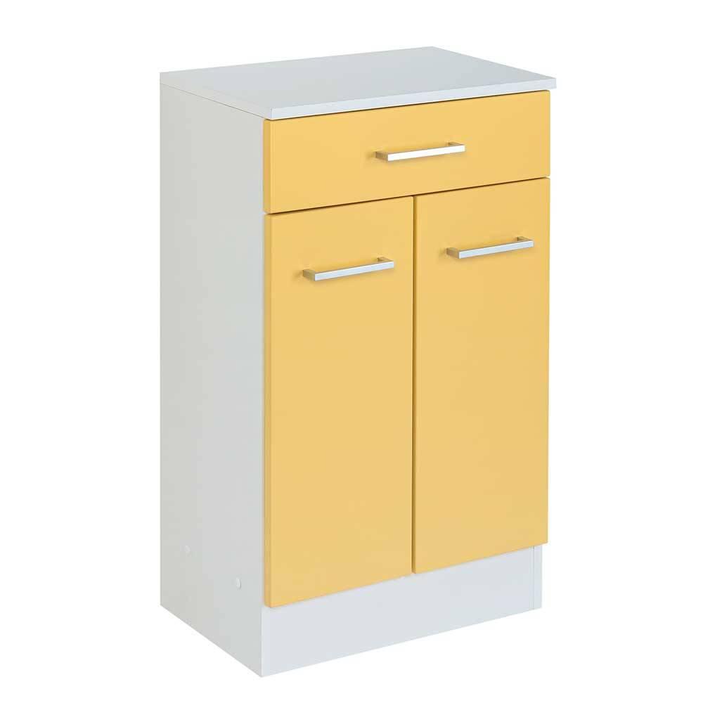 Badezimmer Kommode in Weiß und Gelb 50 cm breit