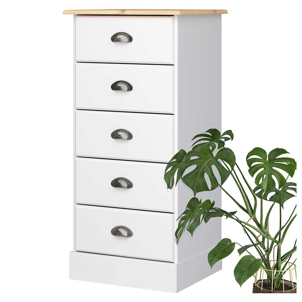 Kommode in Weiß und Kieferfarben fünf Schubladen