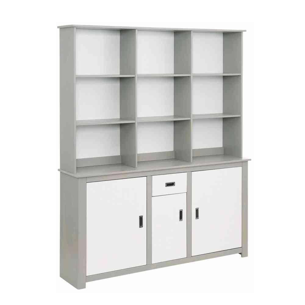 Küchenbuffetschrank in Weiß und Grau Regalfächern | Küche und Esszimmer > Küchenregale | Möbel4Life