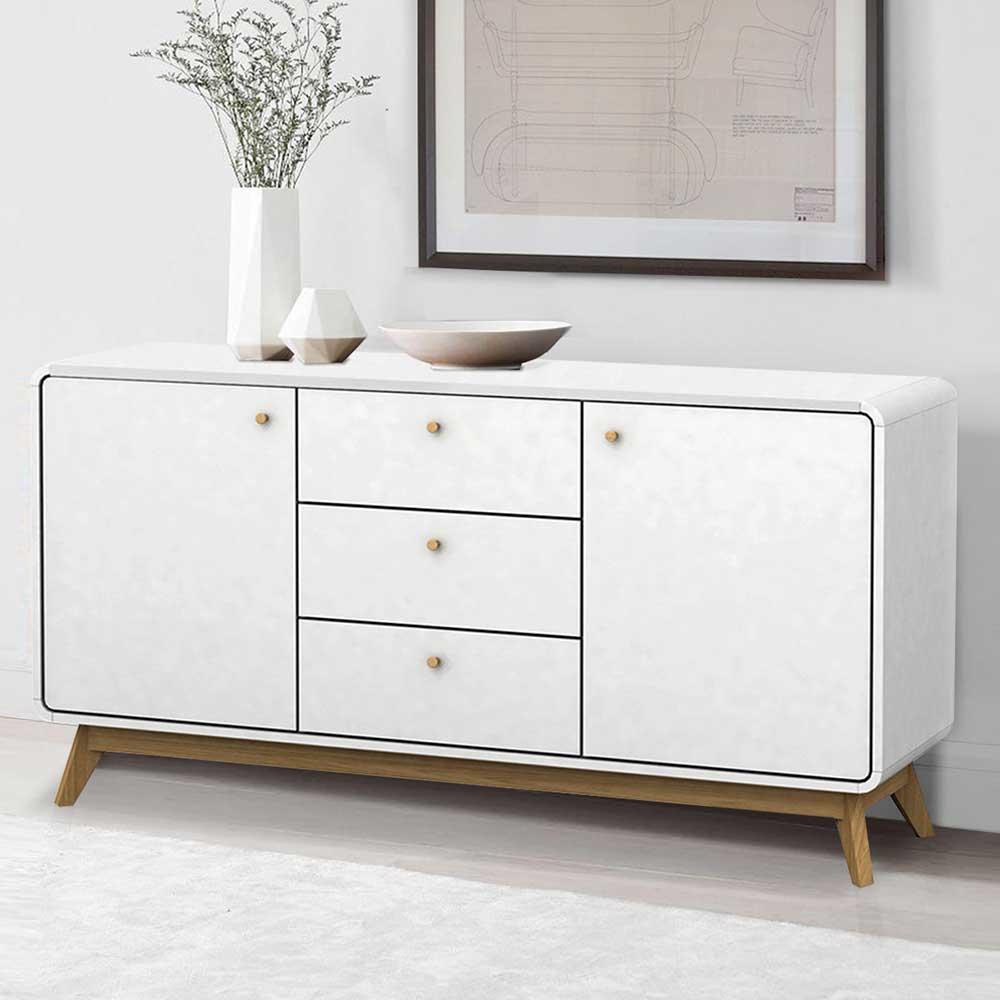 Weißes Sideboard im Skandi Design 140 cm breit