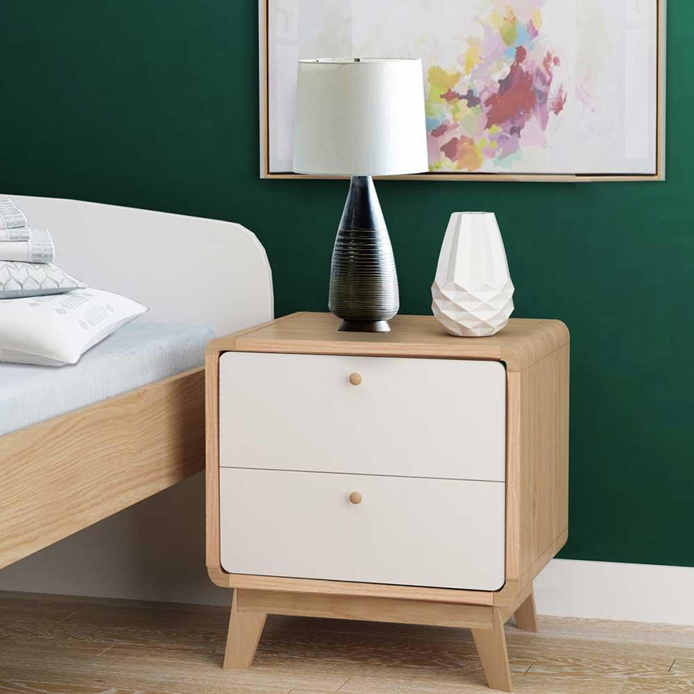Skandi Design Nachtkommode in Weiß und Holz Naturfarben zwei Schubladen (2er Set)
