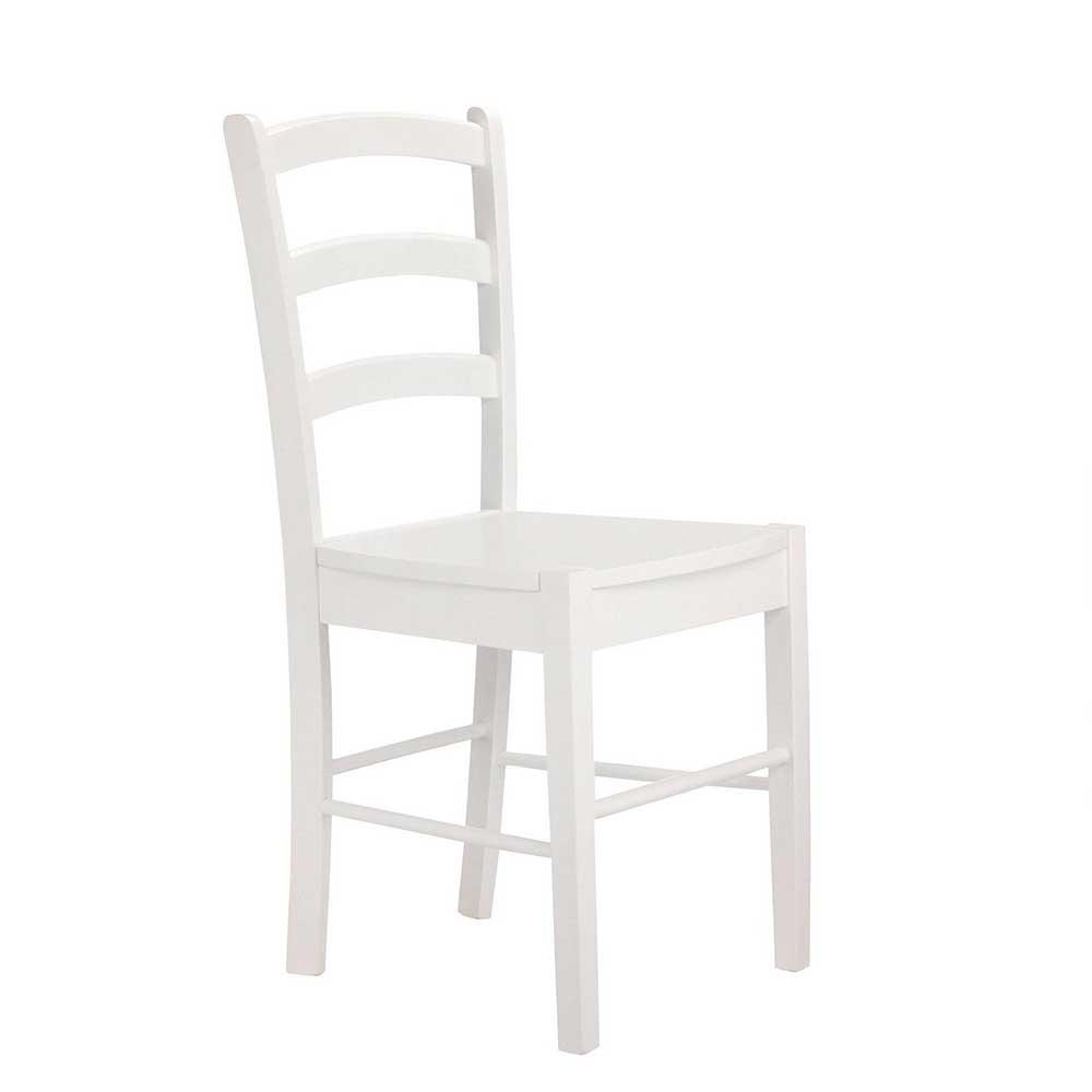 Weiße Stühle mit Massivholzgestell modern (2er Set)