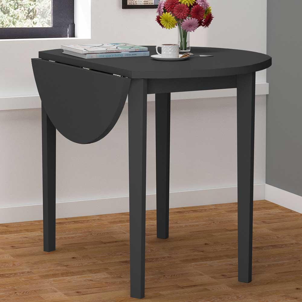 Runder Esstisch in Schwarz klappbarer Tischplatte