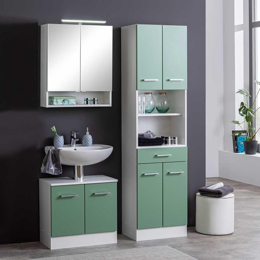 Moderne Badmöbel Kombination in Grün Weiß (dreiteilig)