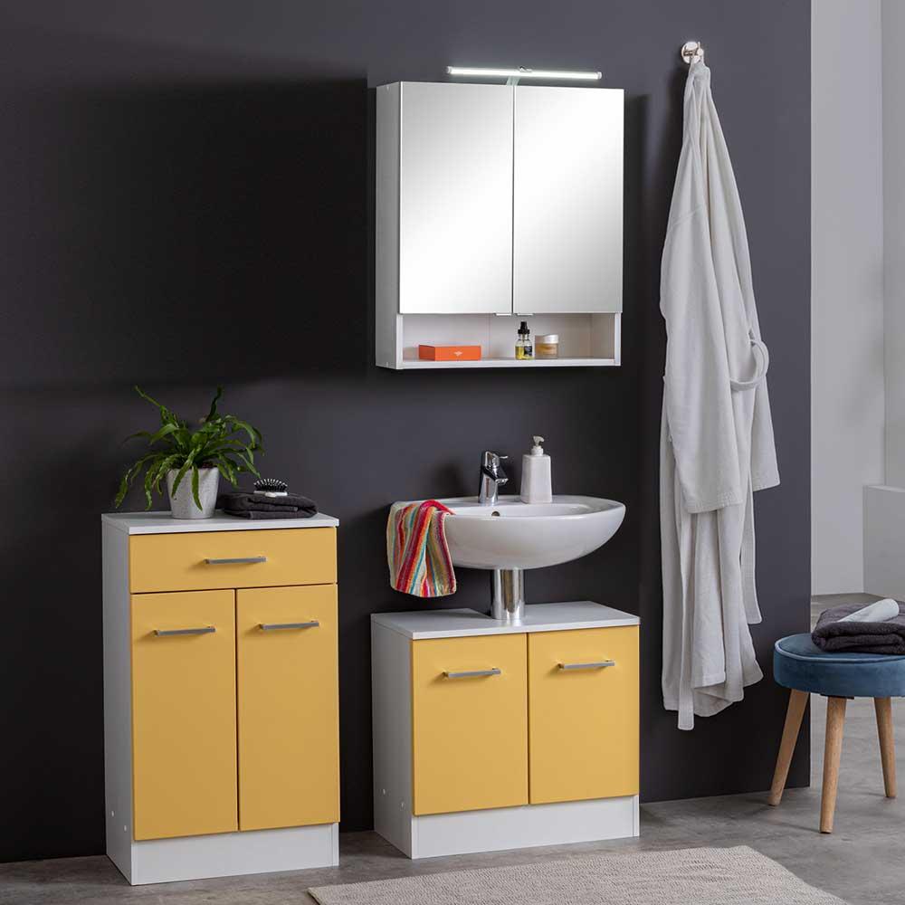 Badmöbel Set in Gelb und Weiß modern (dreiteilig)