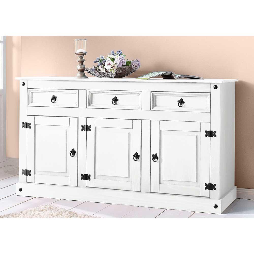 Echtholz Sideboard in Weiß lackiert Landhausstil