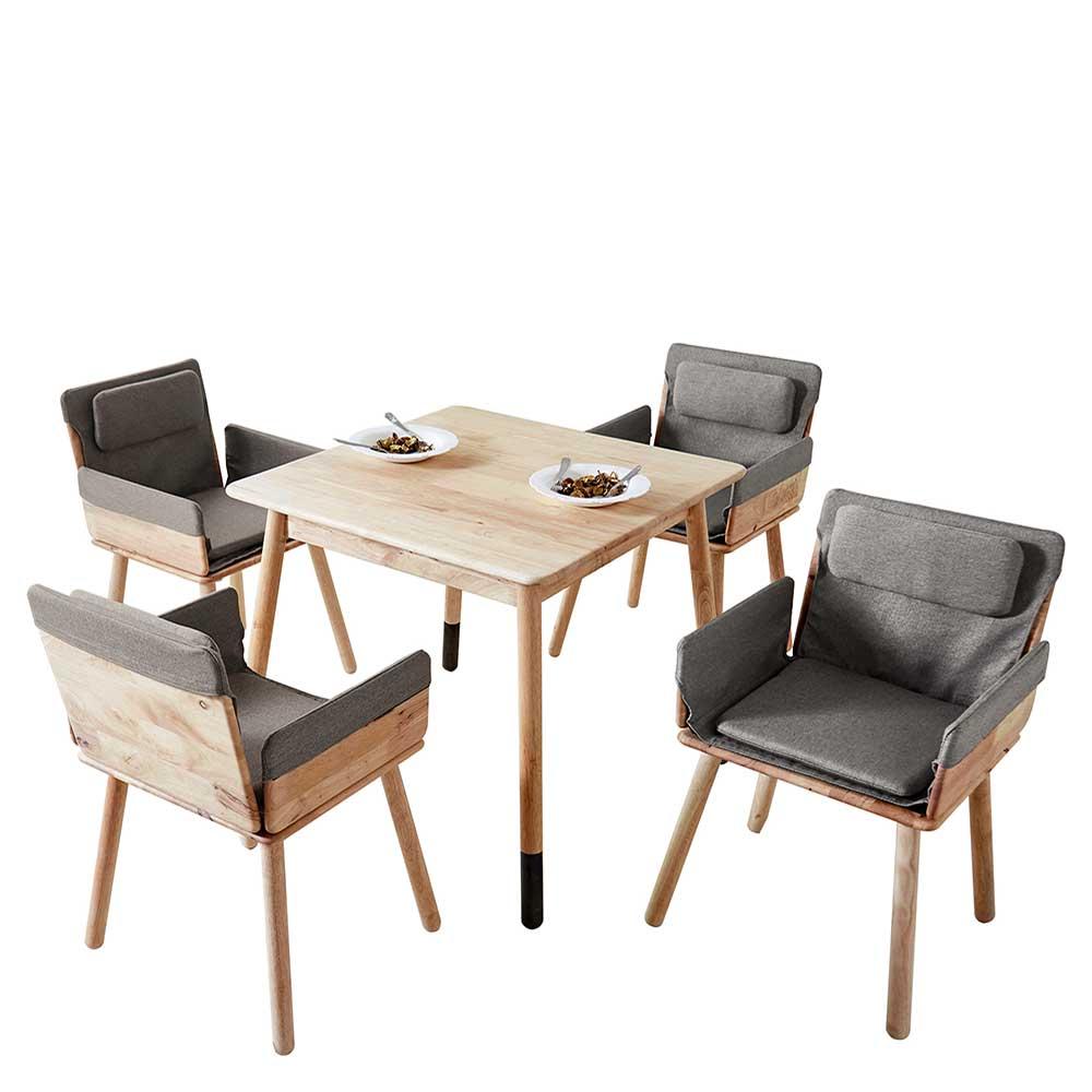 Esszimmergarnitur aus Massivholz Armlehnenstühlen in Grau Webstoff (5-teilig) | Küche und Esszimmer > Essgruppen | Möbel4Life