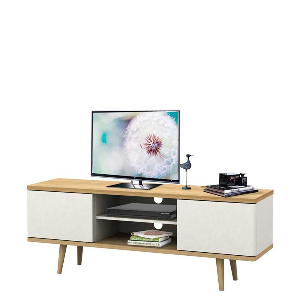TV Lowboard in Weiß und Eichefarben Skandi Design