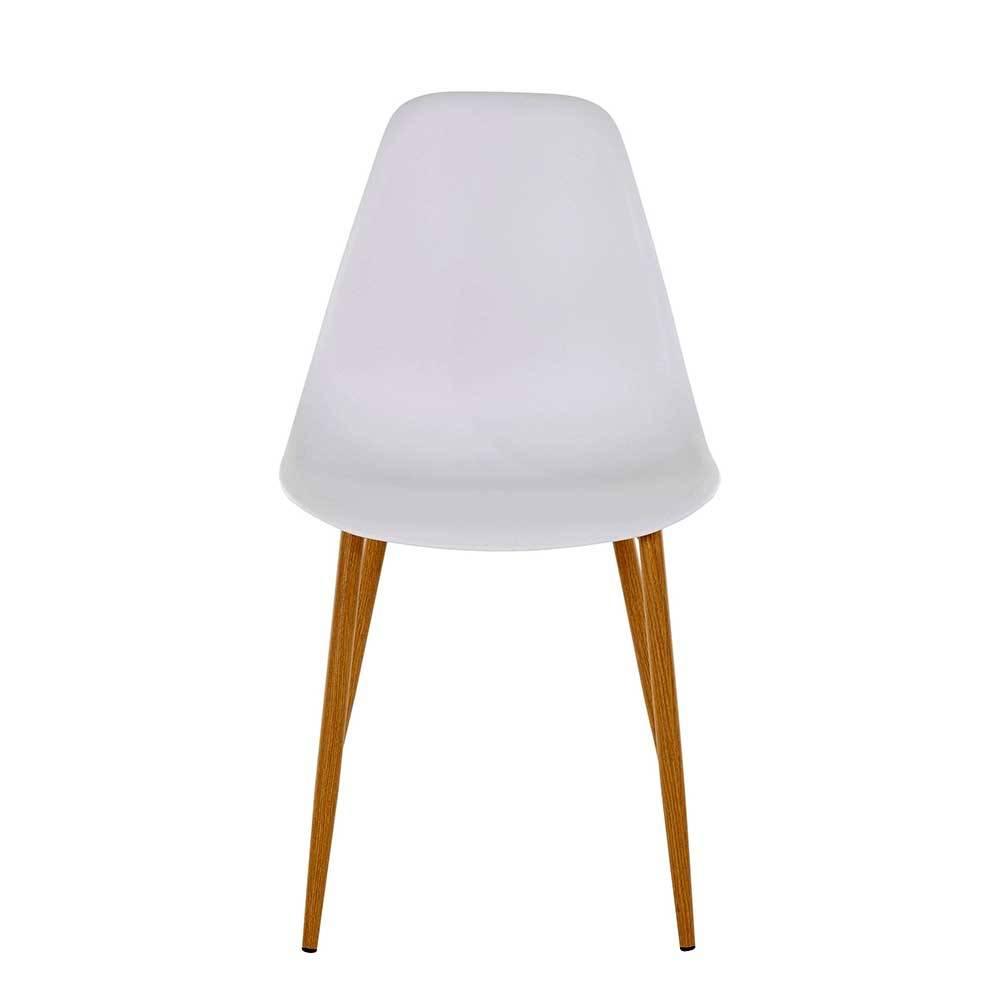 Esstisch Stühle in Weiß Kunststoff Metallgestell in Eichefarben (Set)