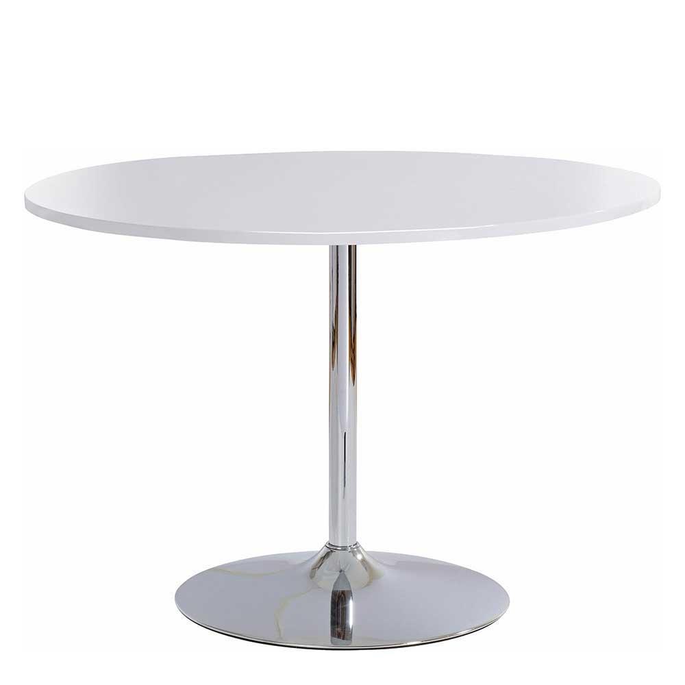 Esstisch in Weiß und Chromfarben runder Tischplatte