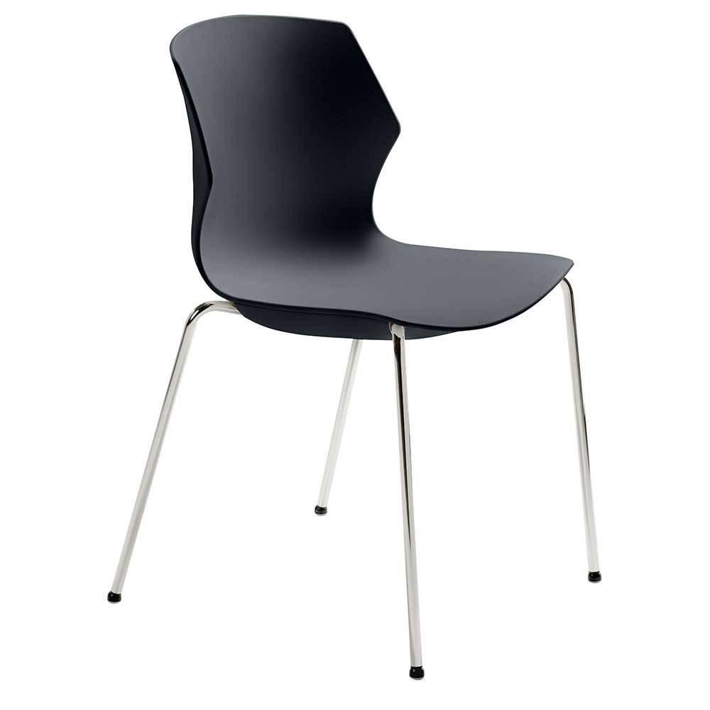 Esstisch Stuhl in Anthrazit Kunststoff verchromtem Metallgestell