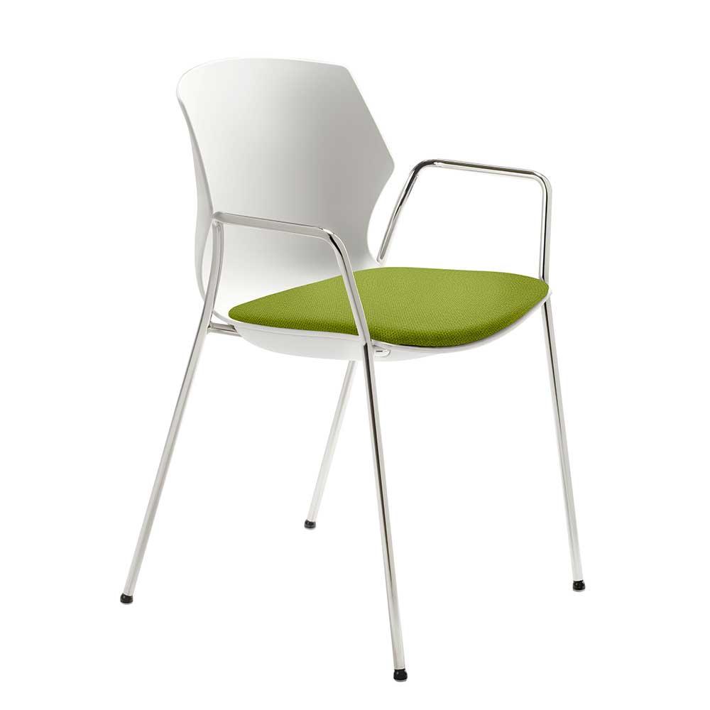 Armlehnen Esstisch Stuhl in Weiß und Grün Made in Germany
