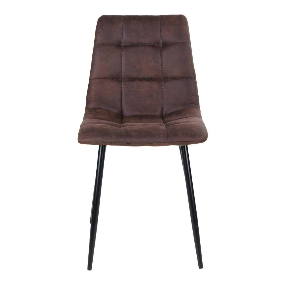 Esstisch Stühle aus Microfaser in Dunkelbraun Stahl in Schwarz (2er Set)