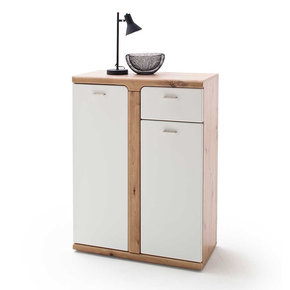 Garderobenkommode in Weiß und Wildeichefarben 80 cm breit
