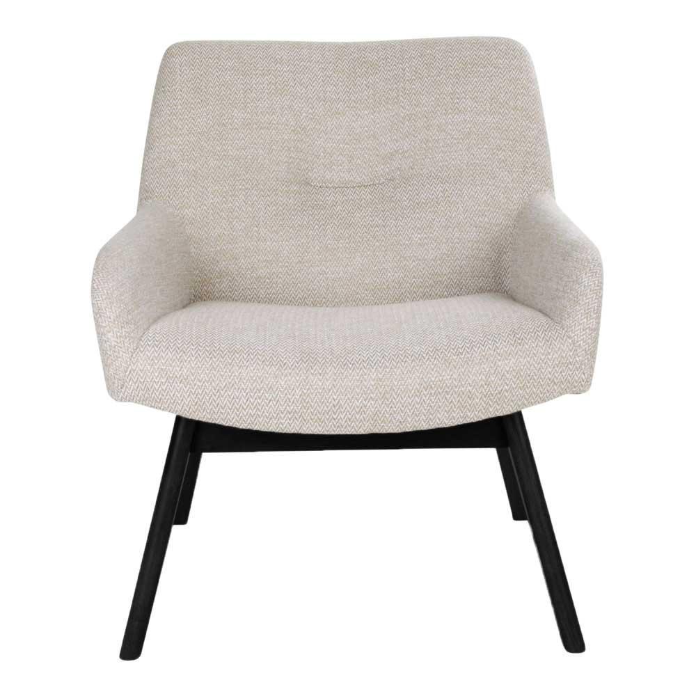 Sessel im Retro Design Creme Weiß Webstoff