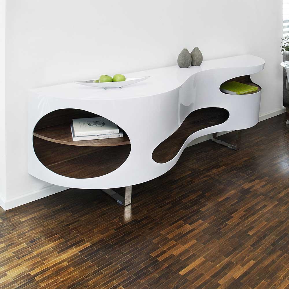 Design Sideboard geschwungen geformt Hochglanz Weiß und Walnussfarben furniert