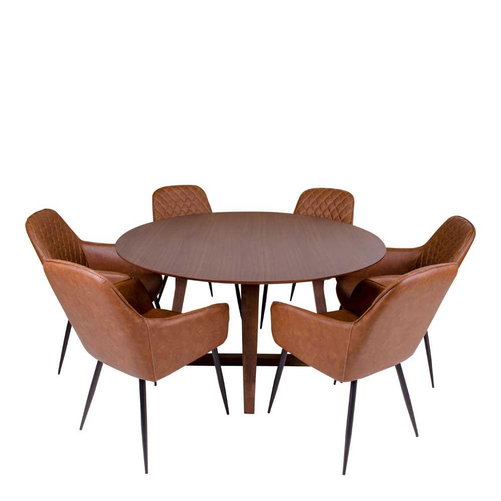 Esszimmergruppe in Walnussfarben und Cognac Braun rundem Esstisch (siebenteilig)