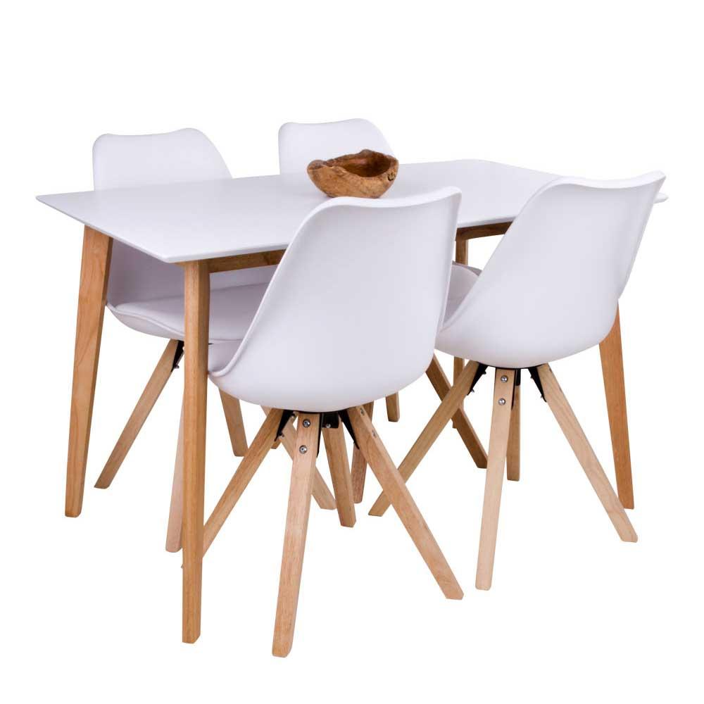 Sitzgarnitur für Esszimmer Weiß und Holz Naturfarben (5-teilig)   Küche und Esszimmer > Essgruppen > Essgruppen   4Home