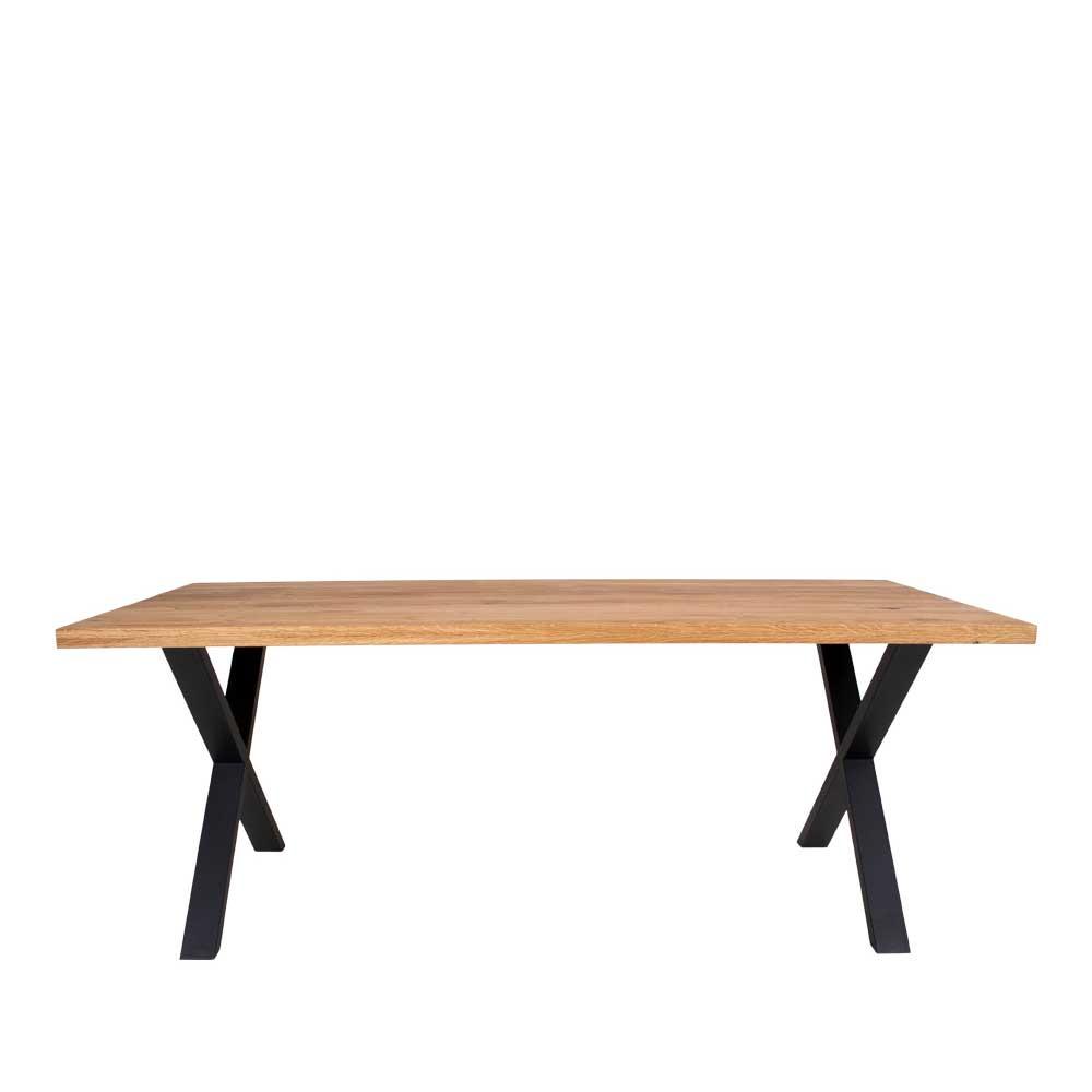 Esstisch aus Eiche Massivholz und Stahl 200 cm breit