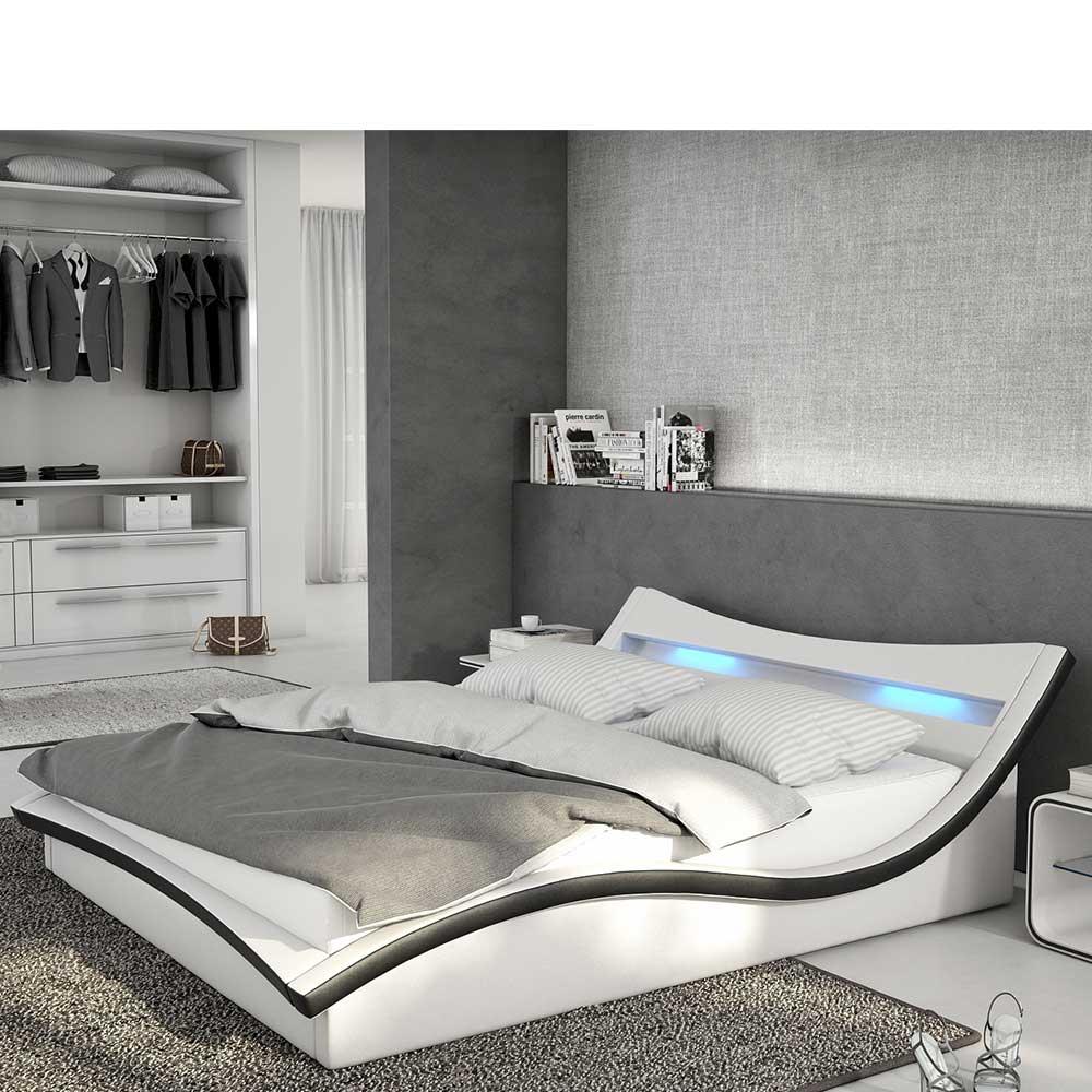 Niedriges Bett in Weiß und Schwarz Kunstleder LED Beleuchtung
