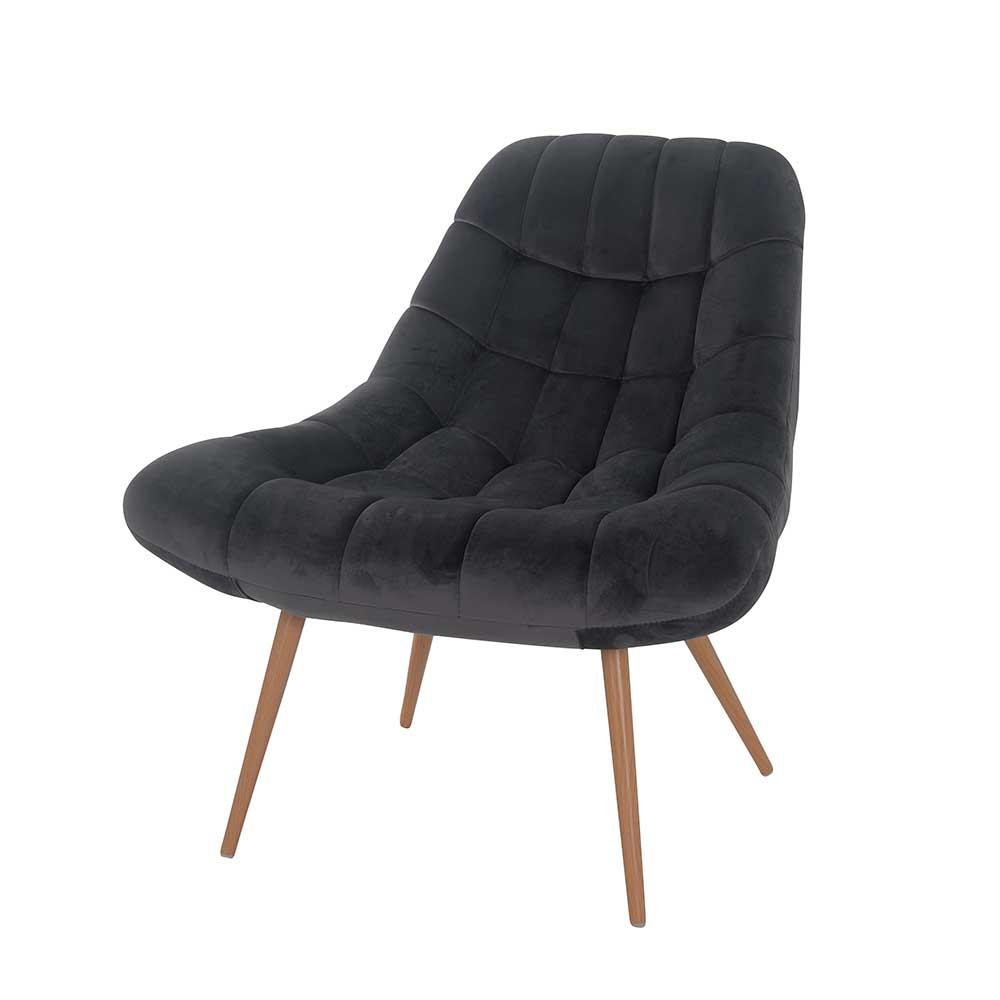Retro Lounge Sessel in Dunkelgrau Samt 50 cm Sitzhöhe
