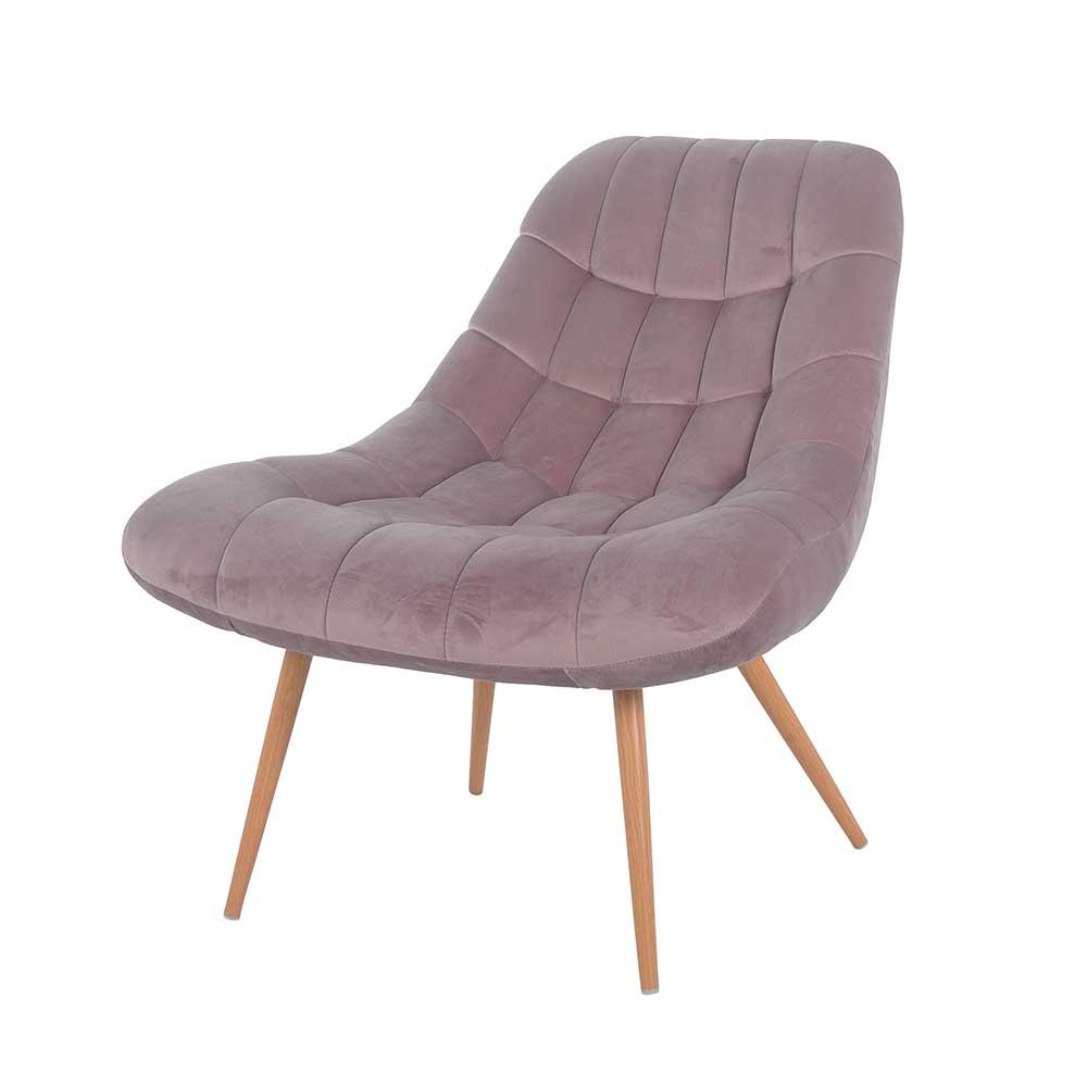 Retro Lounge Sessel in Rosa Samt