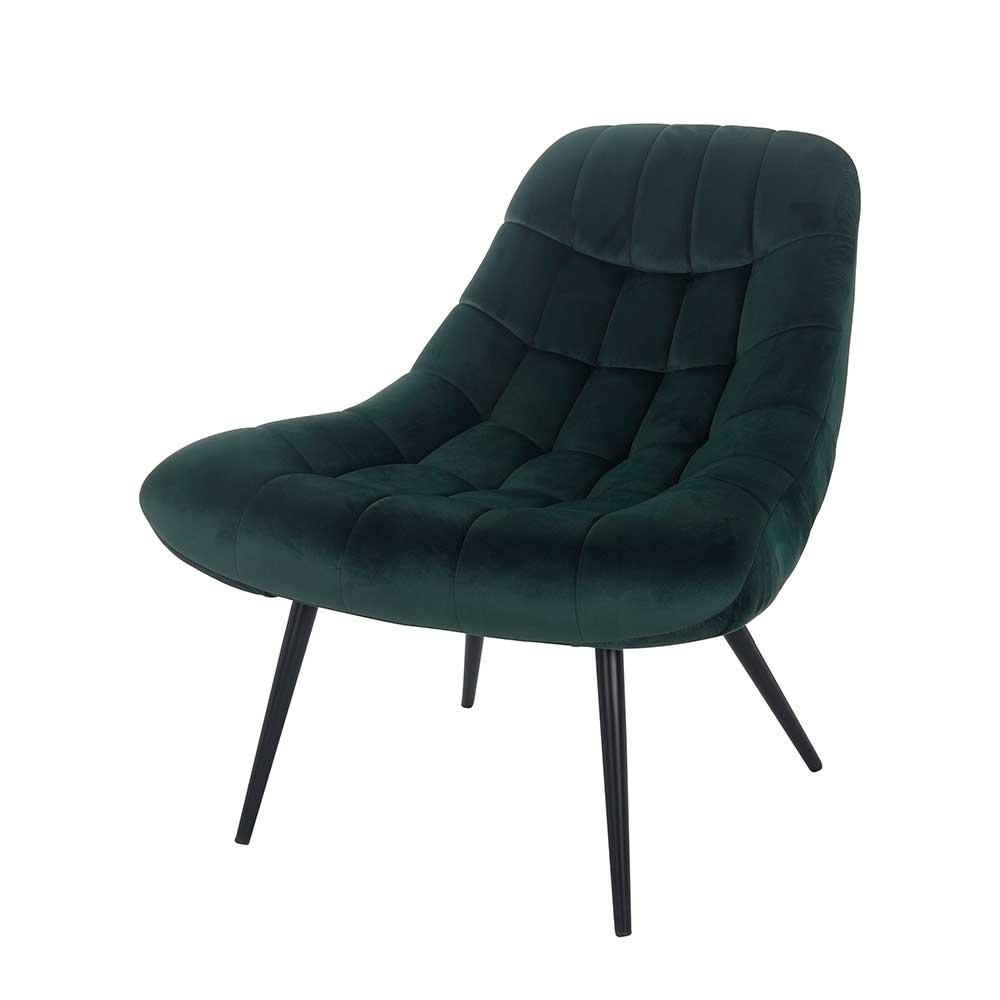Samt Sessel in Dunkelgrün Retro Style