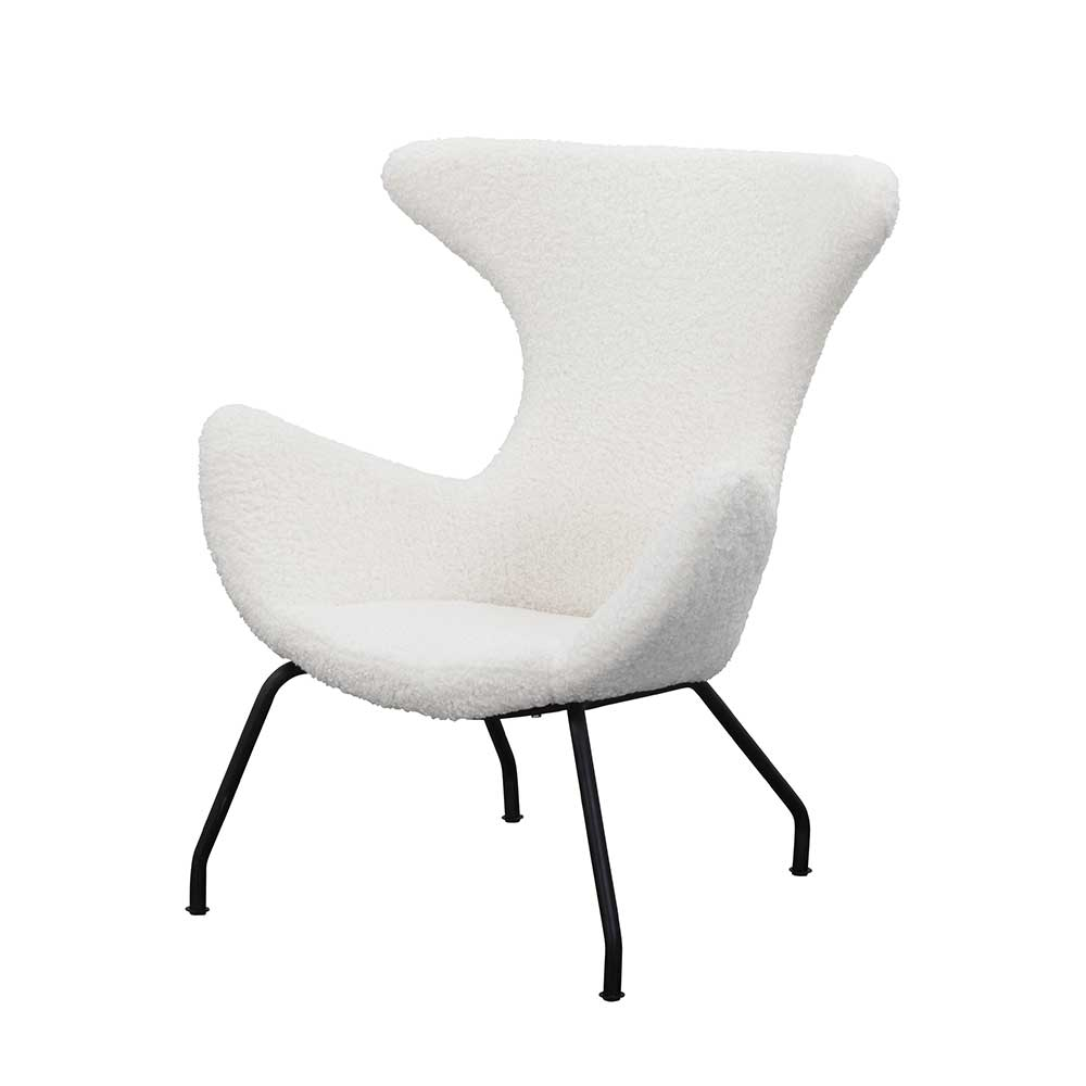Webplüsch Sessel in Weiß Ohren