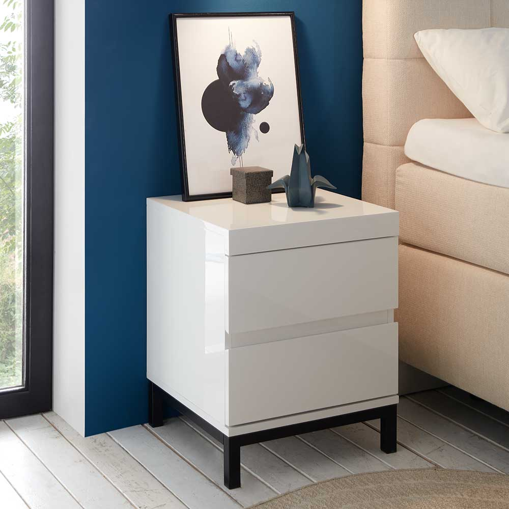 Nachttisch Kommode in Weiß Hochglanz und Schwarz 50 cm hoch