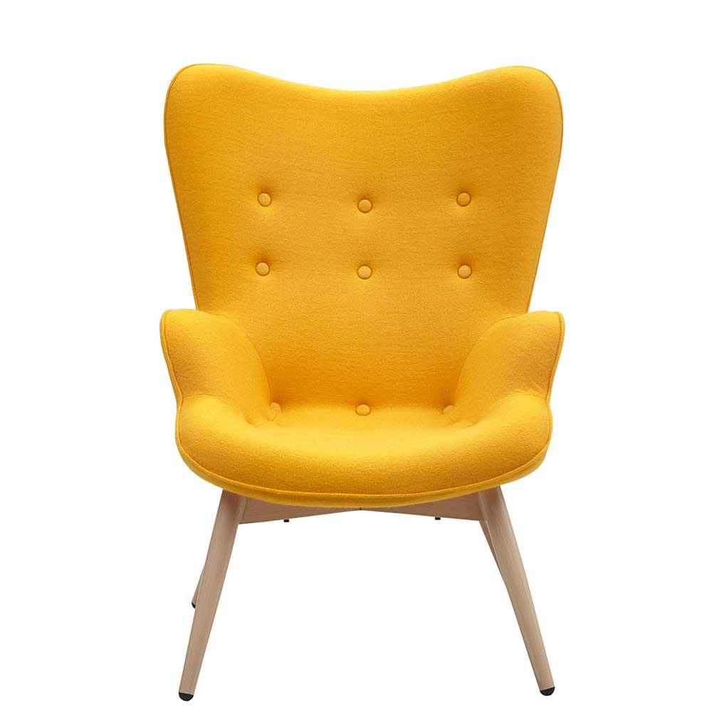 Skandi Design Sessel in Gelb Webstoff Ohren