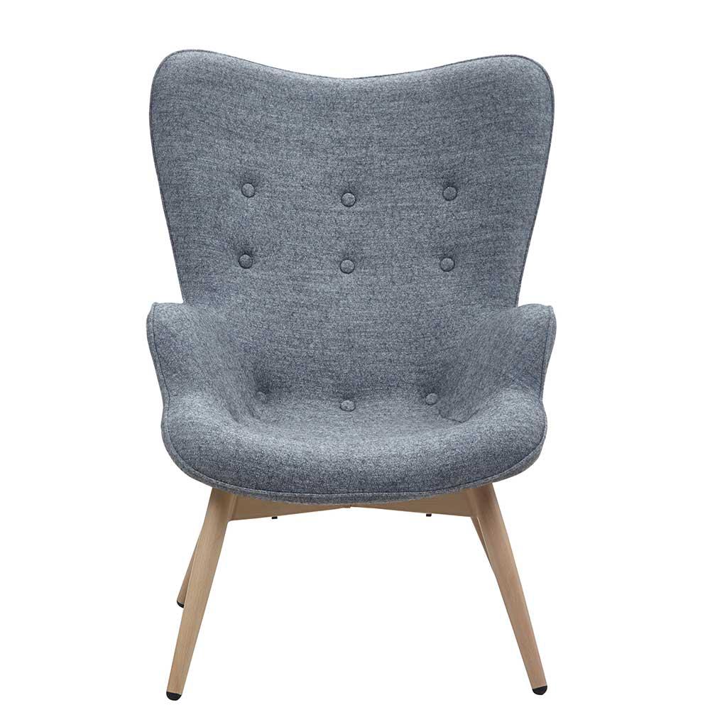 Sessel in Grau Webstoff Skandi Design