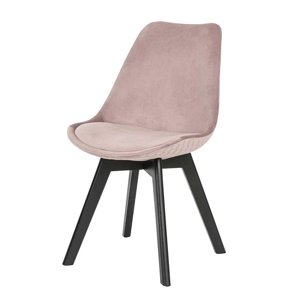 Esstisch Stühle in Altrosa Samt schwarzen Holzbeinen (2er Set)