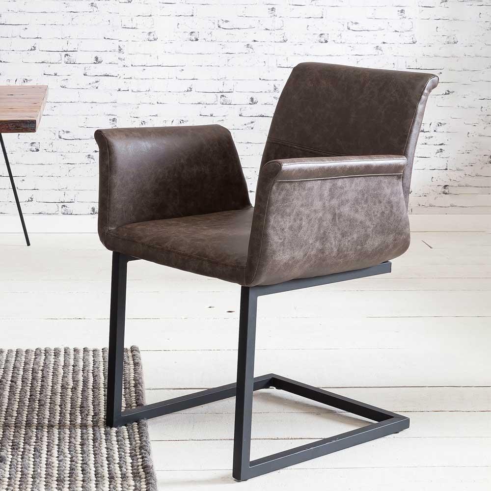 Freischwinger Sessel in Dunkelbraun Kunstleder Loft Design (2er Set)